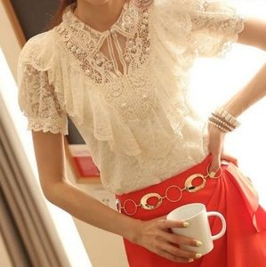 Classy Vintage Lace Top Beaded Pearl Details
